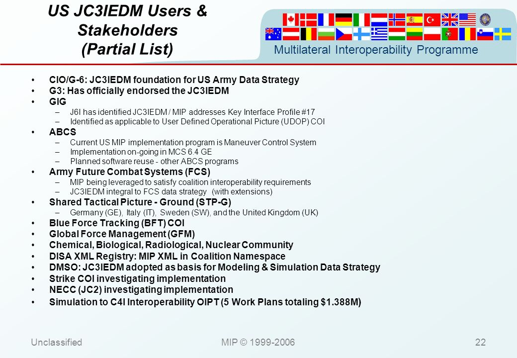 US JC3IEDM Users & Stakeholders (Partial List)
