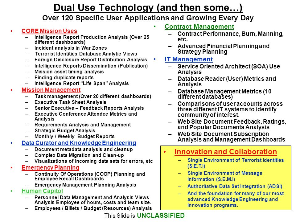 Dual Use Technology (and then some…) Over 120 Specific User Applications and Growing Every Day