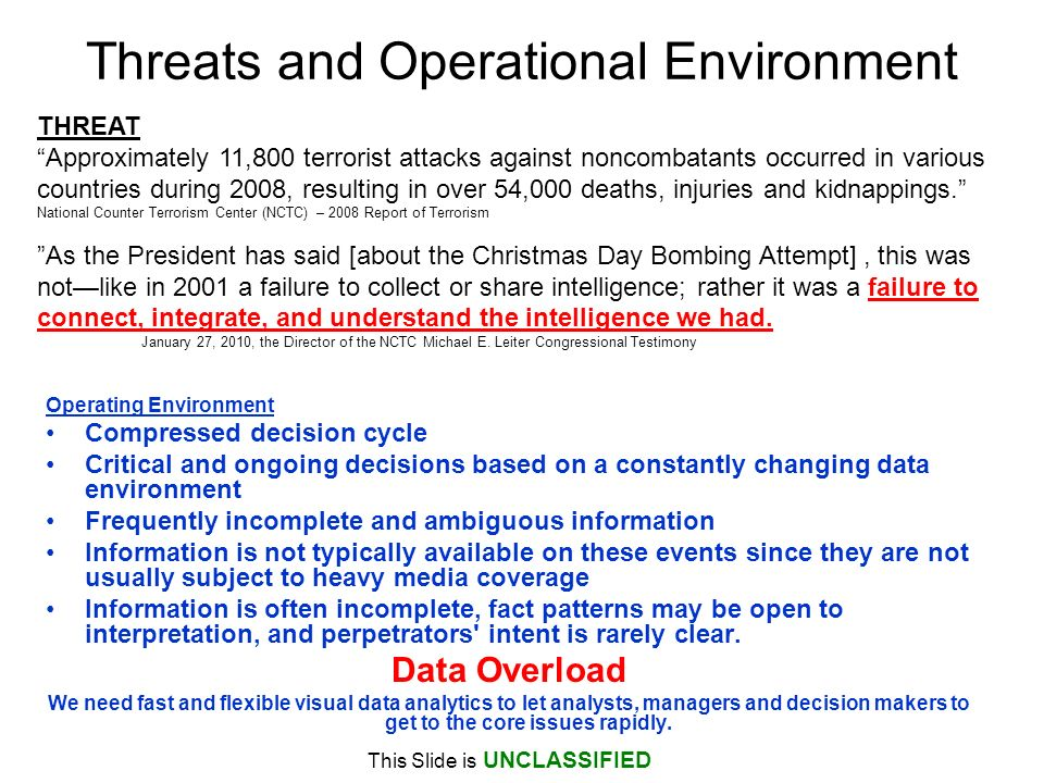 Threats and Operational Environment