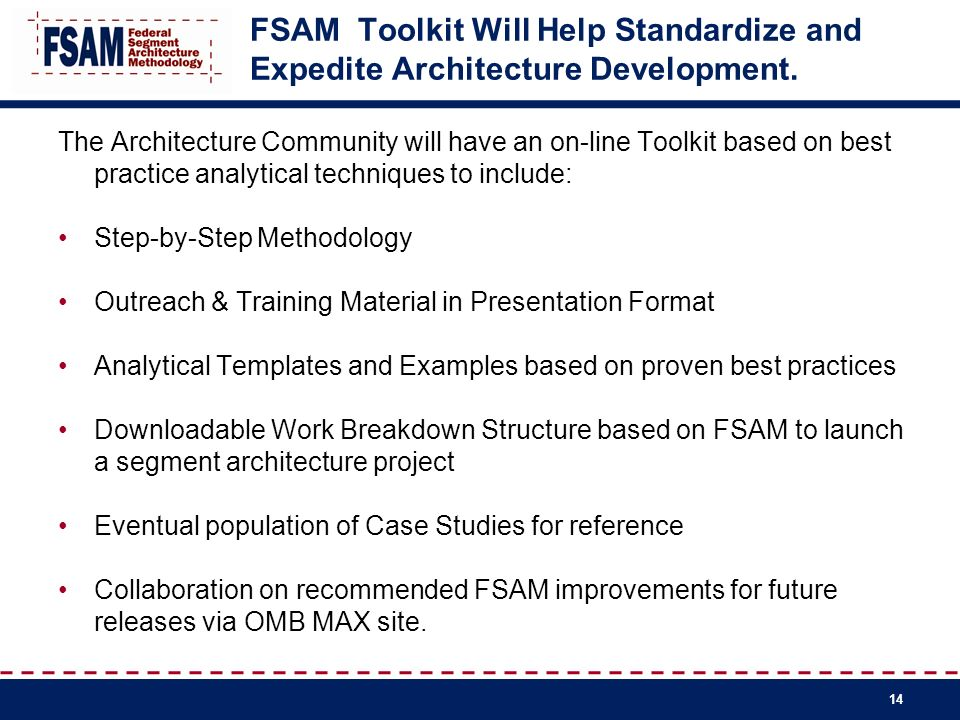 FSAM Toolkit Will Help Standardize and Expedite Architecture Development.