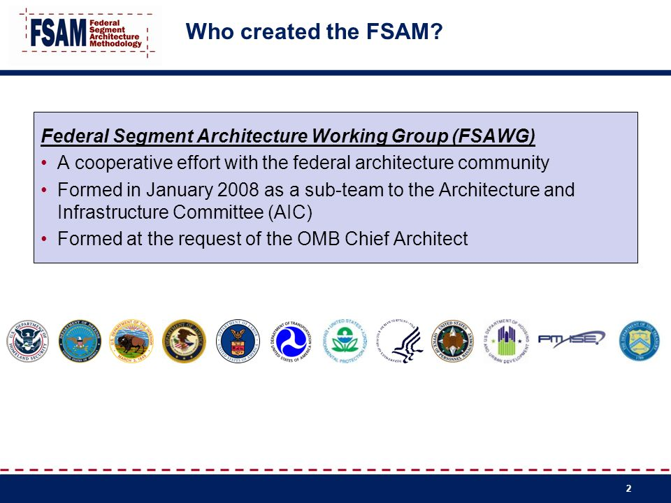 Who created the FSAM Federal Segment Architecture Working Group (FSAWG) A cooperative effort with the federal architecture community.