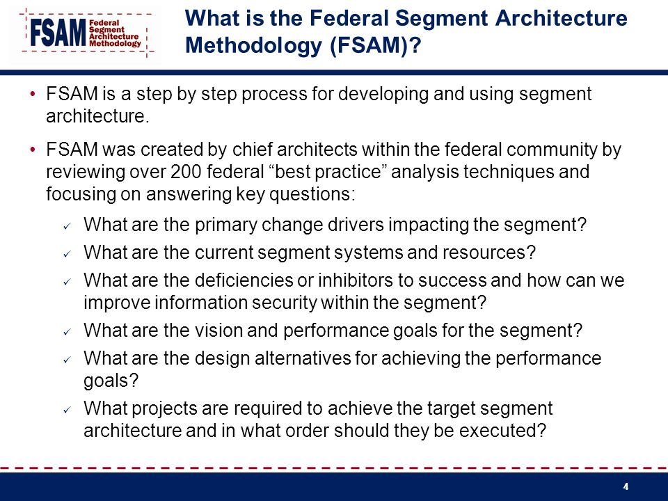 What is the Federal Segment Architecture Methodology (FSAM)
