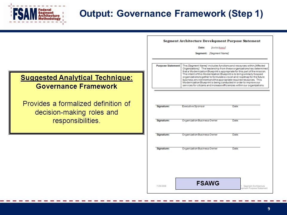 Output: Governance Framework (Step 1)