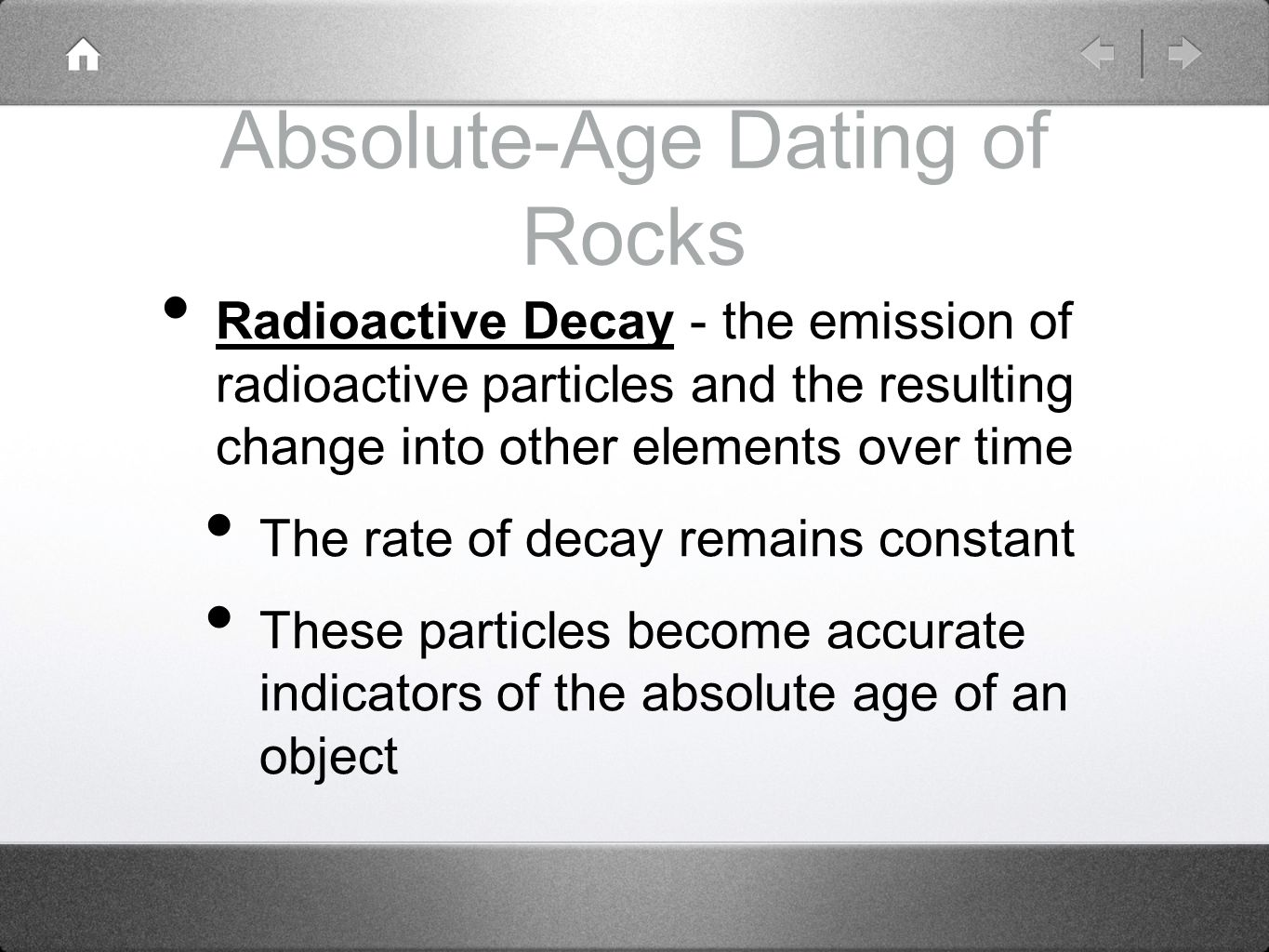 Relative vs absolute age dating of rocks