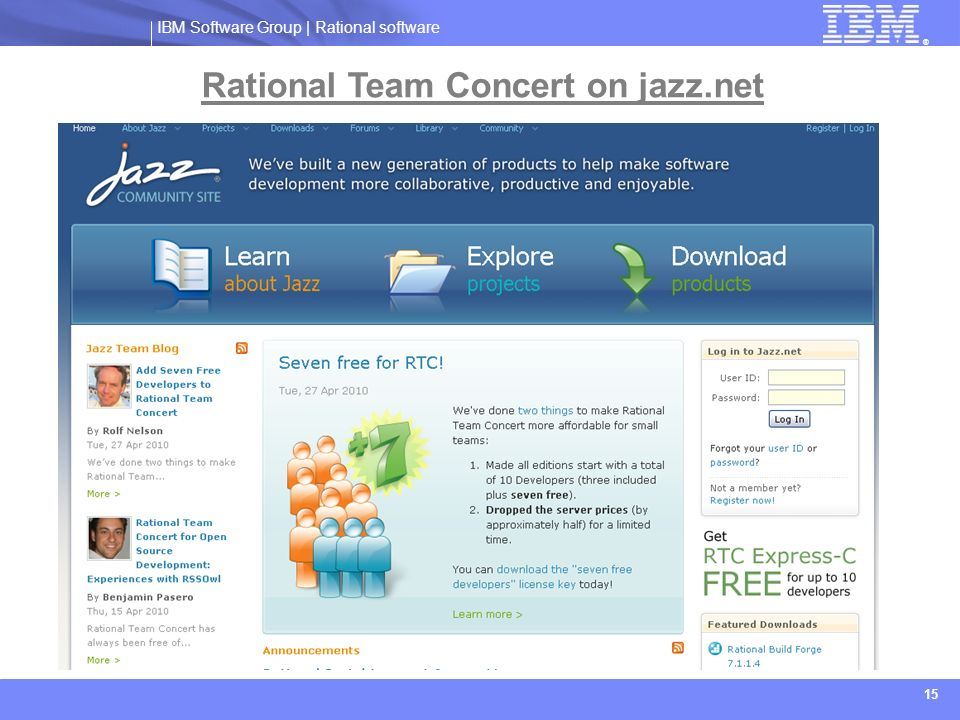 Rational Team Concert on jazz.net