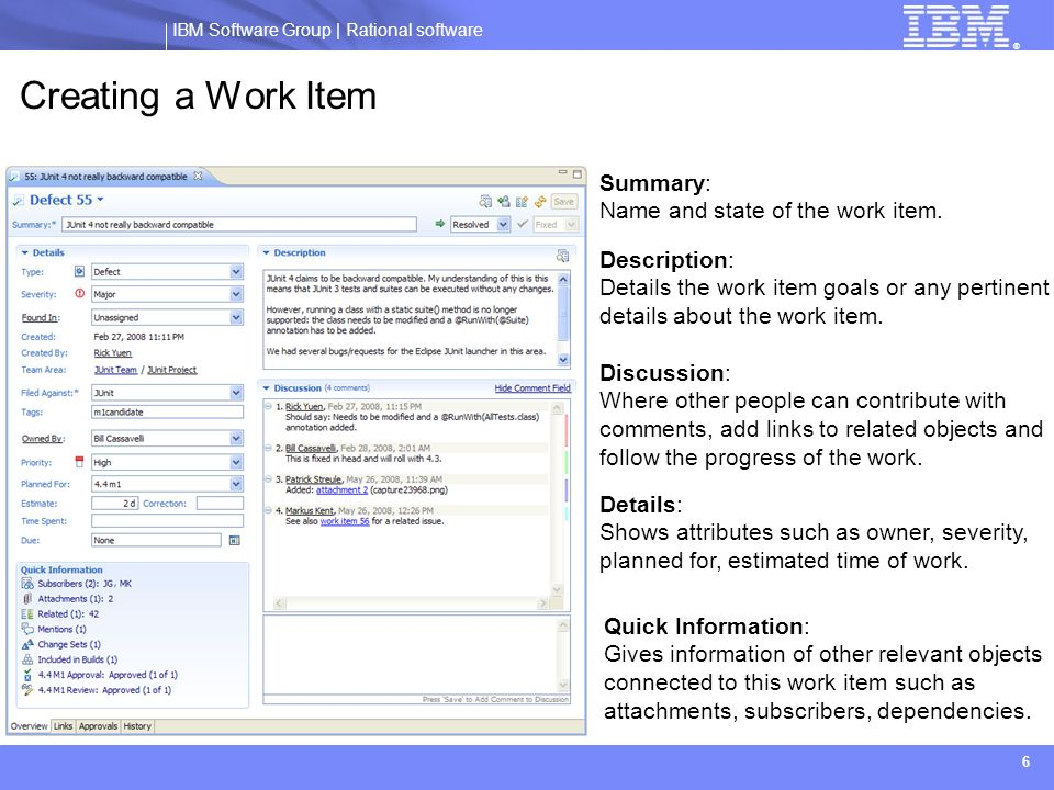 Creating a Work Item Summary: Name and state of the work item.