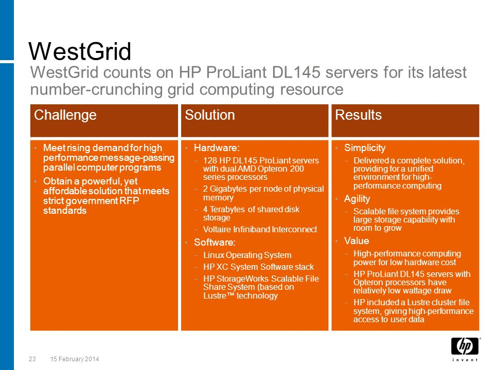 WestGrid Presentation Title. WestGrid counts on HP ProLiant DL145 servers for its latest number-crunching grid computing resource.