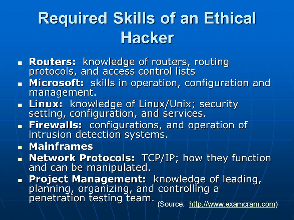 Required Skills of an Ethical Hacker