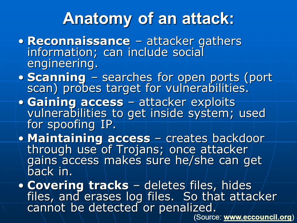 Anatomy of an attack: Reconnaissance – attacker gathers information; can include social engineering.