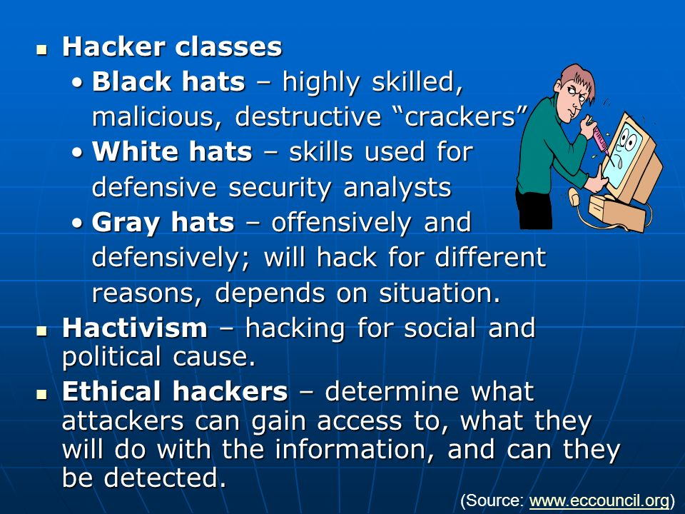 Black hats – highly skilled, malicious, destructive crackers