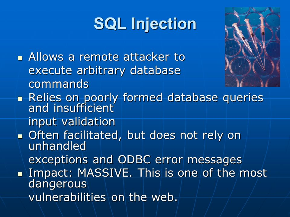 SQL Injection Allows a remote attacker to execute arbitrary database