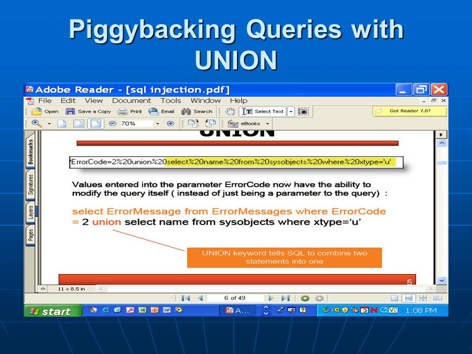 Piggybacking Queries with UNION