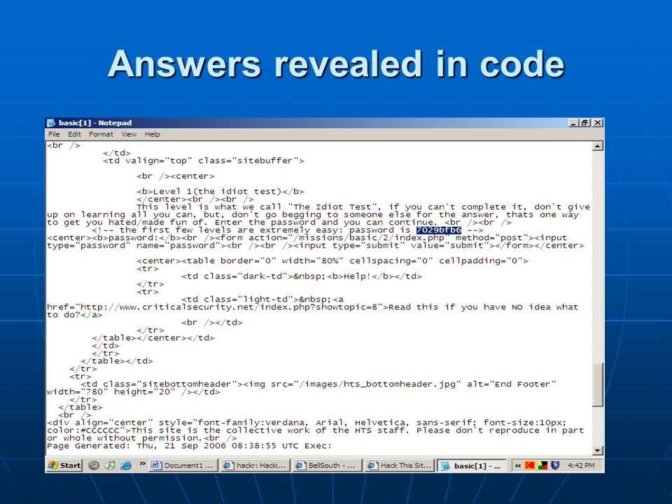 Answers revealed in code