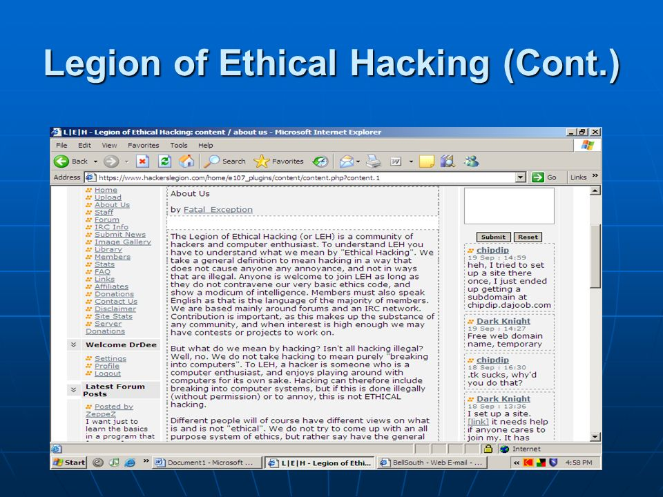 Legion of Ethical Hacking (Cont.)