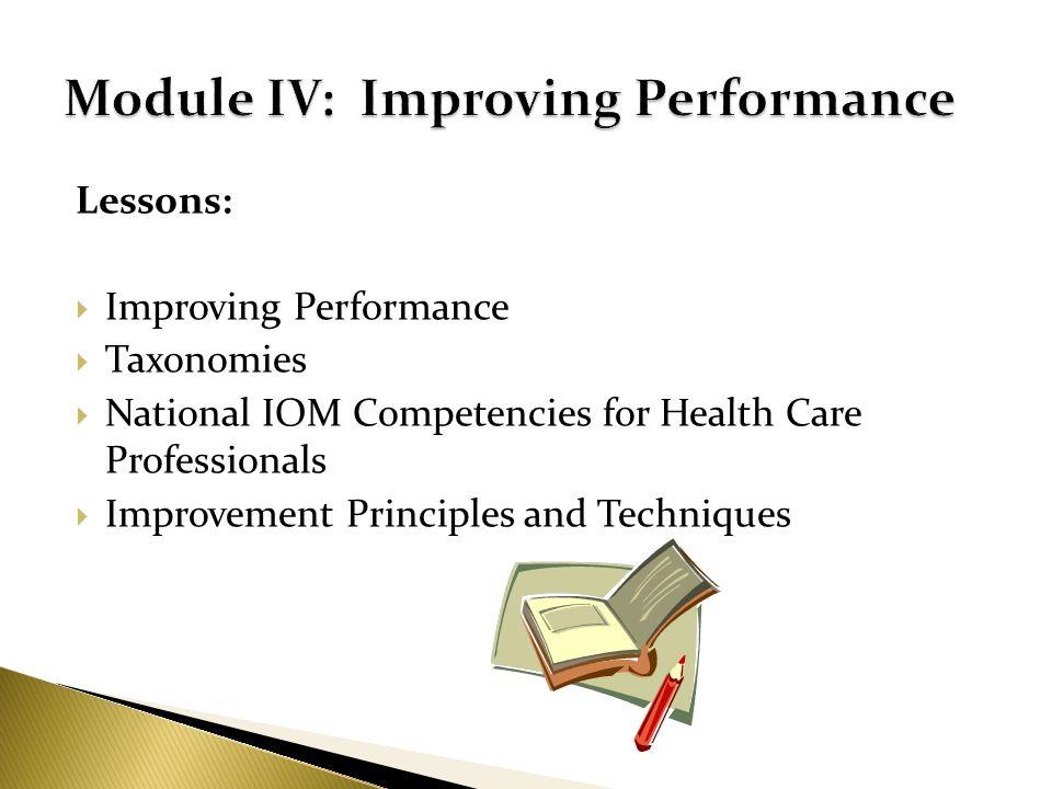 Module IV: Improving Performance