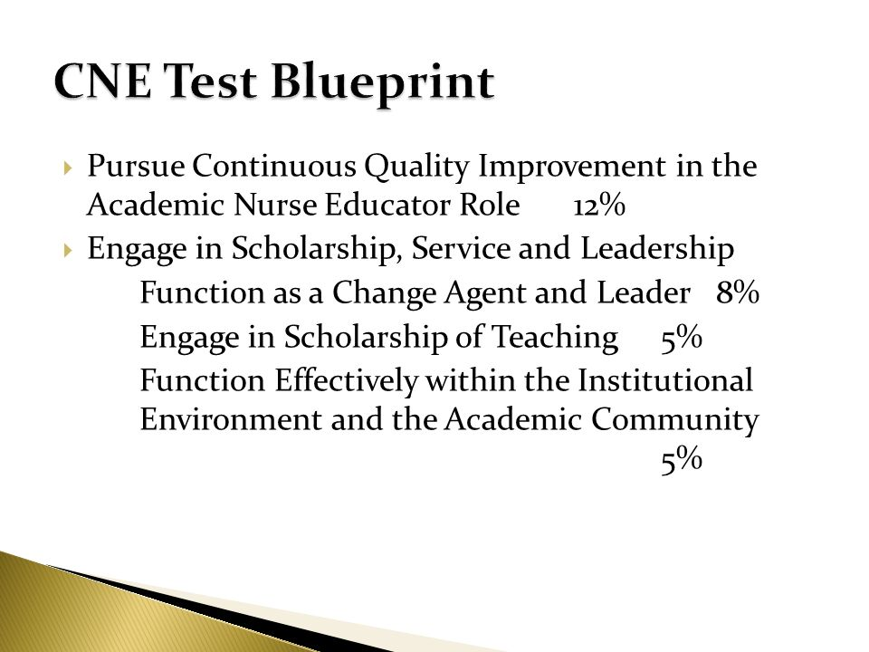Nurse educator institute ppt video online download cne test blueprint pursue continuous quality improvement in the academic nurse educator role 12 engage malvernweather Image collections