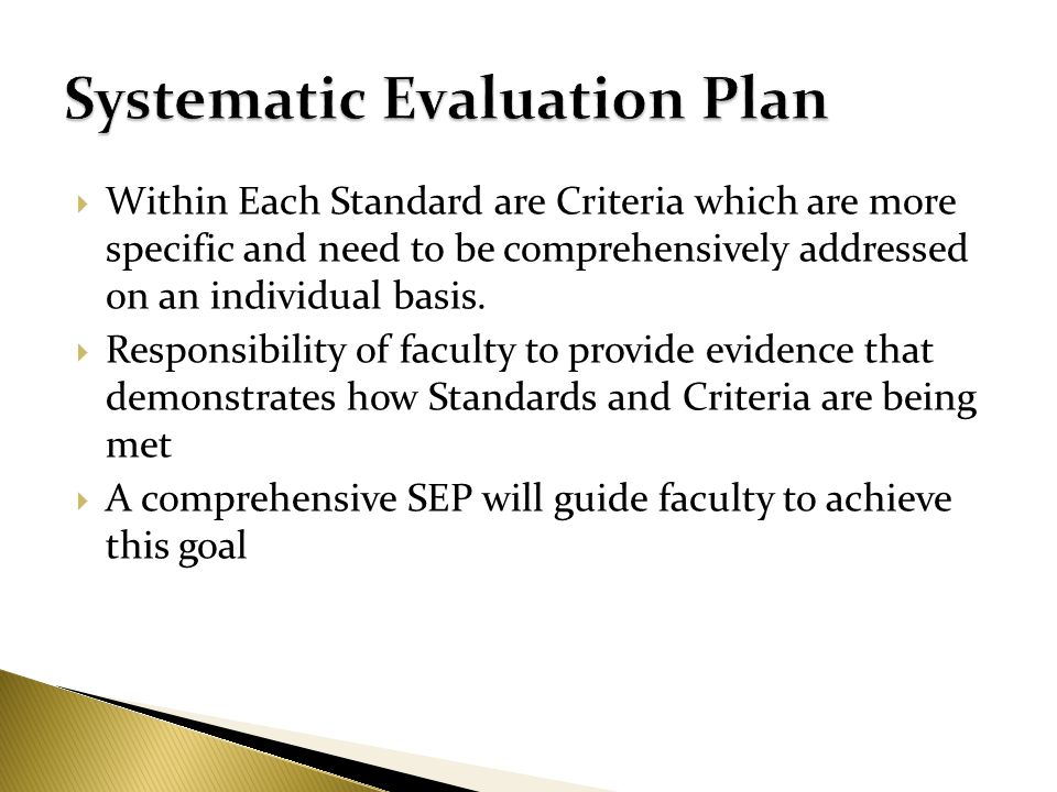 Systematic Evaluation Plan