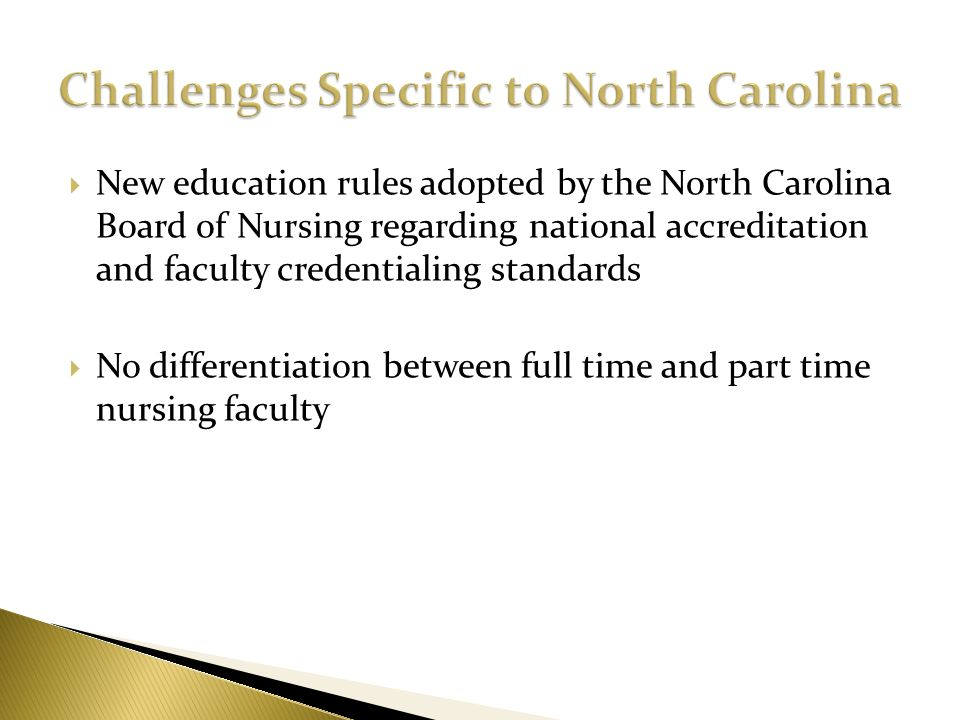 Challenges Specific to North Carolina