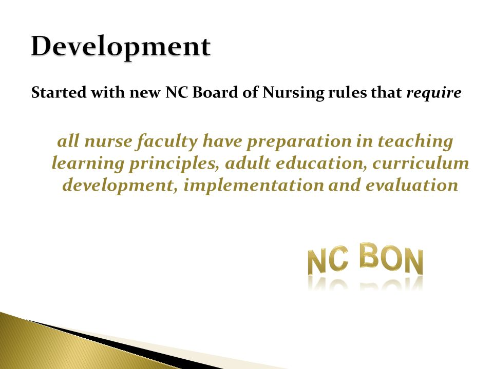 Development Started with new NC Board of Nursing rules that require.