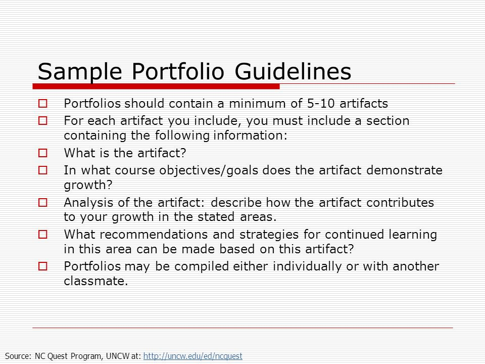 Sample Portfolio Guidelines