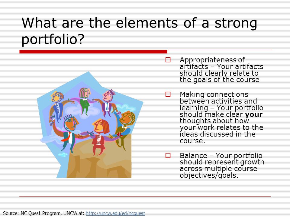 What are the elements of a strong portfolio