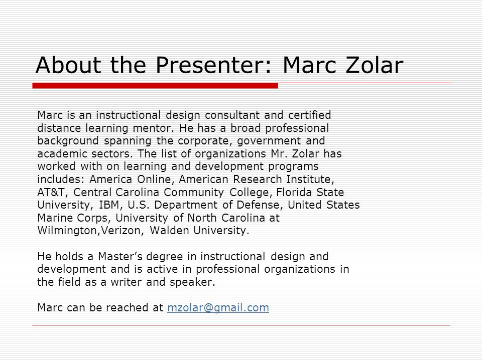 About the Presenter: Marc Zolar