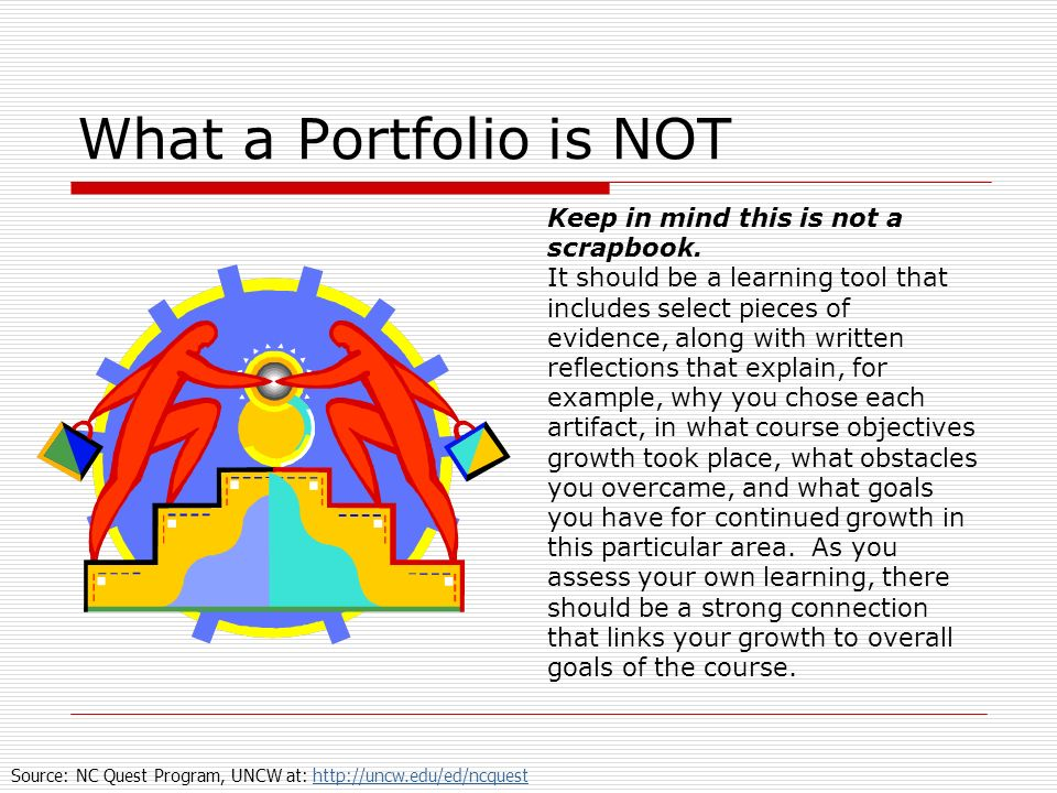 What a Portfolio is NOT Keep in mind this is not a scrapbook.