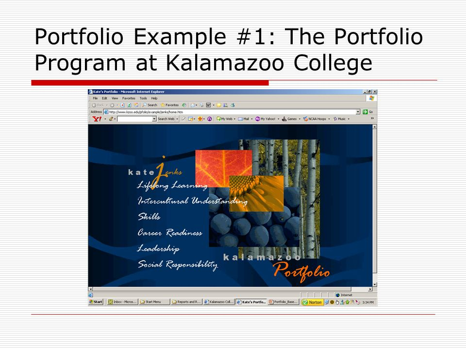 Portfolio Example #1: The Portfolio Program at Kalamazoo College