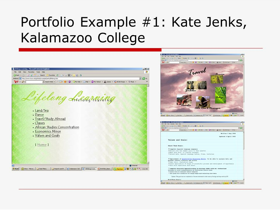 Portfolio Example #1: Kate Jenks, Kalamazoo College