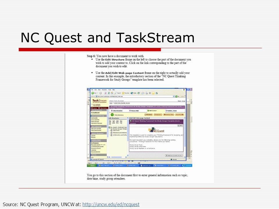 NC Quest and TaskStream