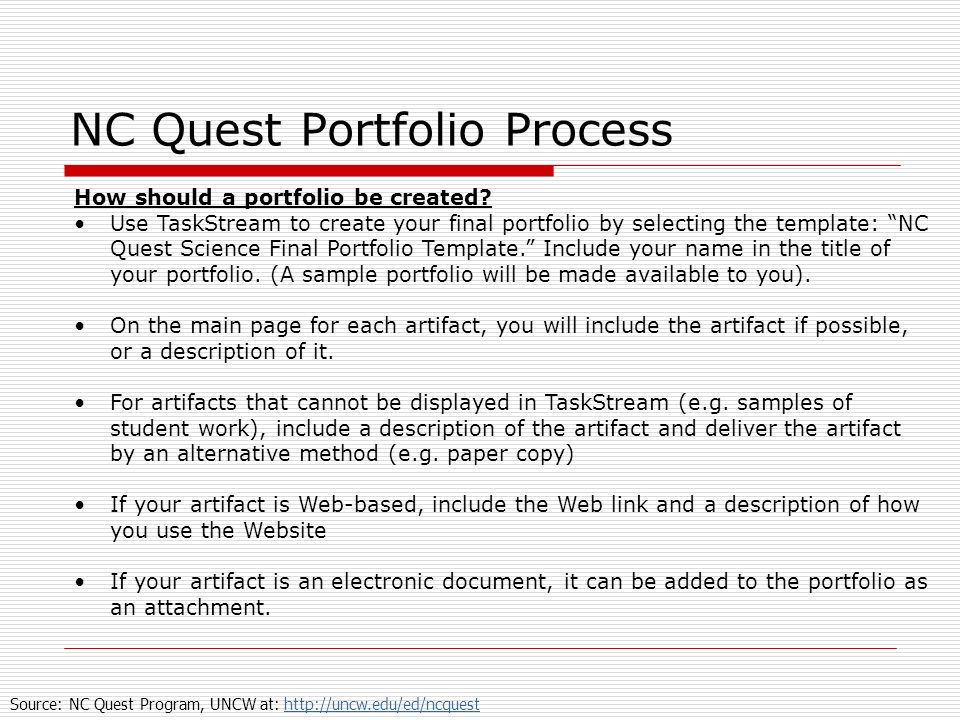 NC Quest Portfolio Process