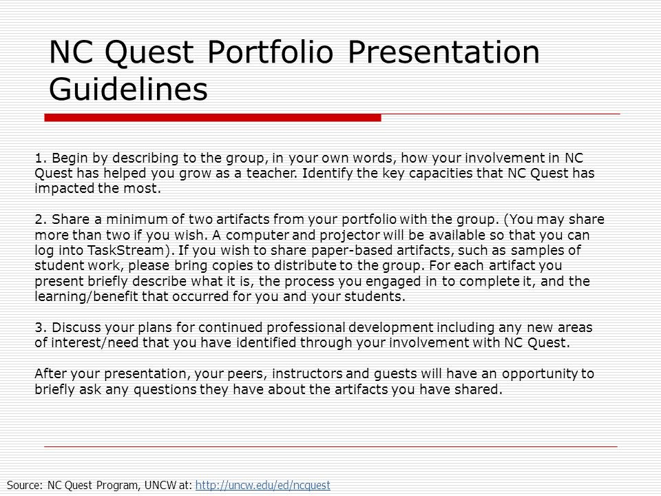 NC Quest Portfolio Presentation Guidelines