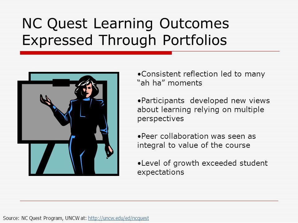 NC Quest Learning Outcomes Expressed Through Portfolios