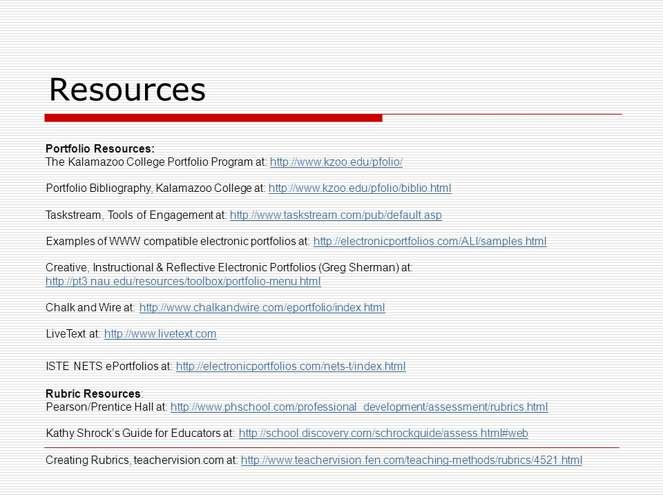 Resources Portfolio Resources: