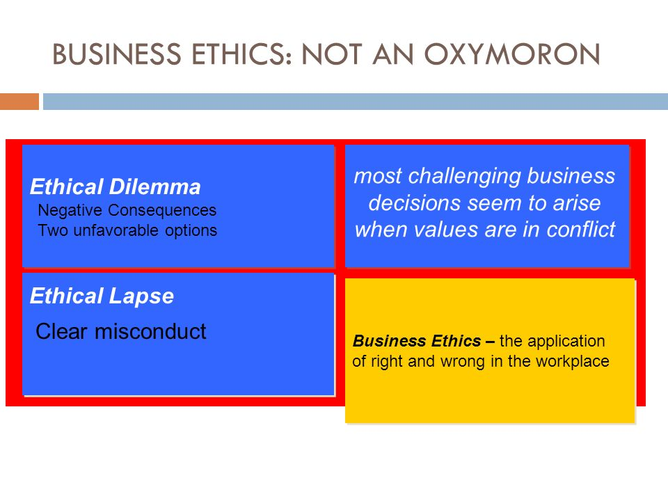 business ethics oxymoron Business ethics is an oxymoron because people get into business to maximize profit while ethics deals with anything other that profit however, there is the dilemma about doing the right thing.