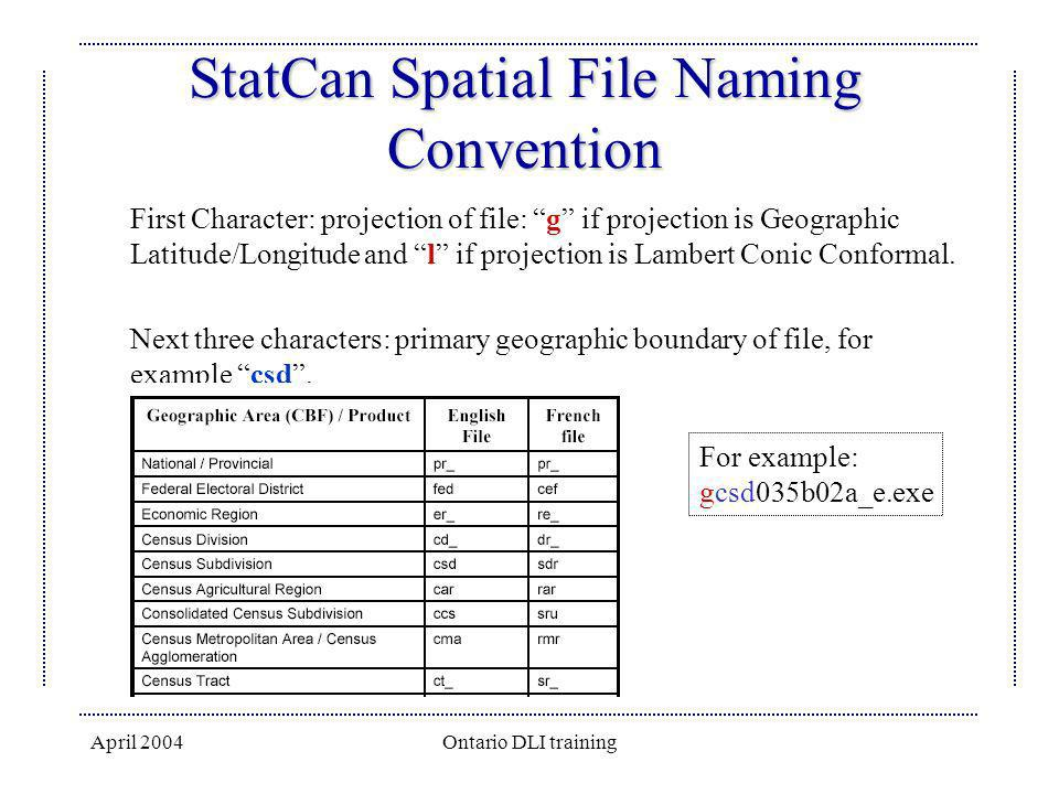 StatCan Spatial File Naming Convention