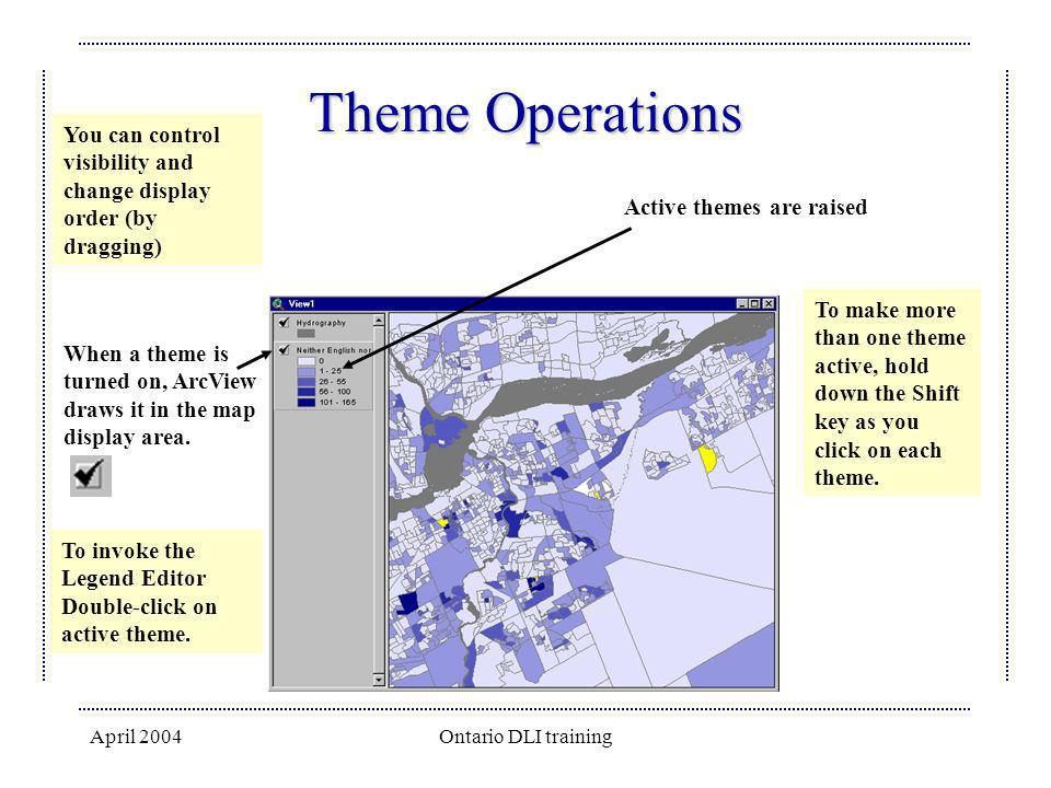 Theme Operations You can control visibility and change display order (by dragging) Active themes are raised.