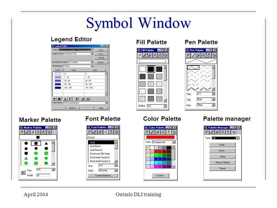 Symbol Window Legend Editor Fill Palette Pen Palette Marker Palette