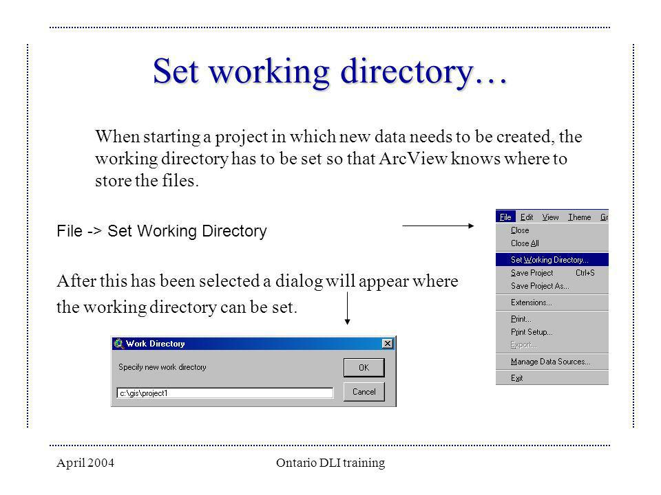 Set working directory…