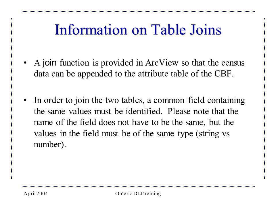 Information on Table Joins