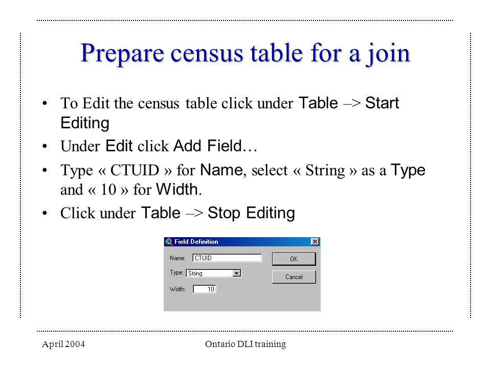 Prepare census table for a join