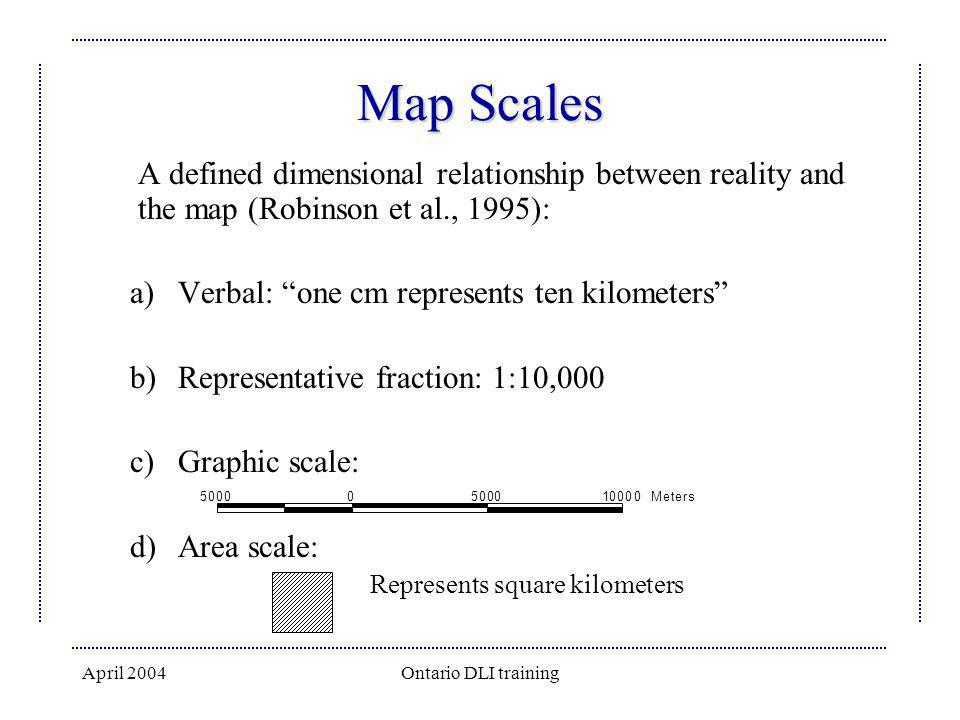 Map Scales A defined dimensional relationship between reality and the map (Robinson et al., 1995): Verbal: one cm represents ten kilometers