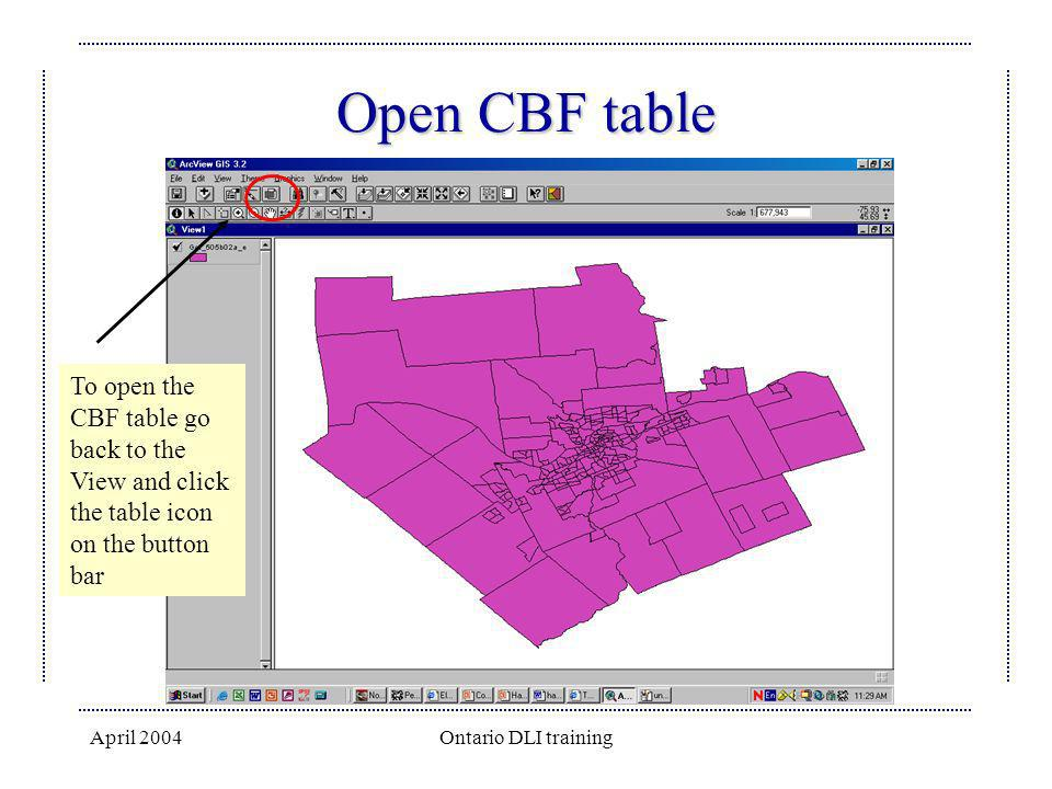 Open CBF table To open the CBF table go back to the View and click the table icon on the button bar.