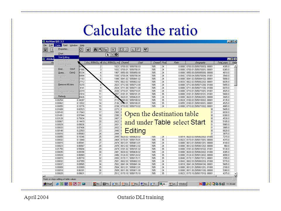 Calculate the ratio Open the destination table and under Table select Start Editing.