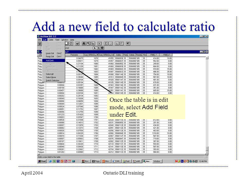 Add a new field to calculate ratio