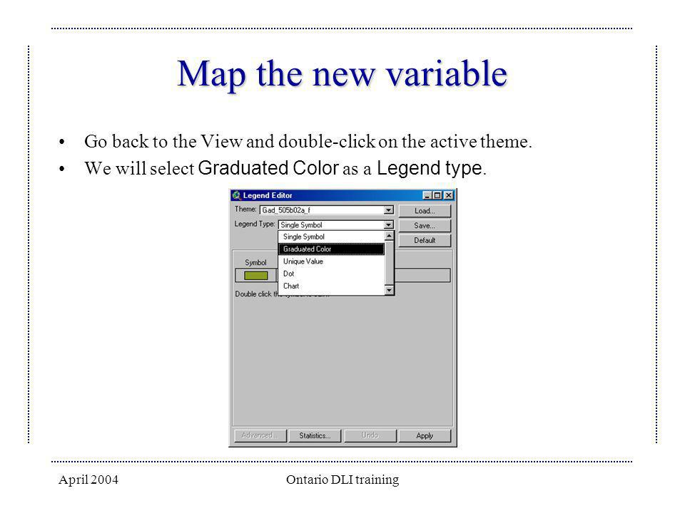 Map the new variable Go back to the View and double-click on the active theme. We will select Graduated Color as a Legend type.