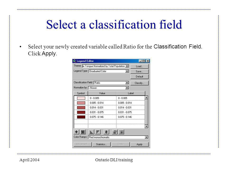 Select a classification field