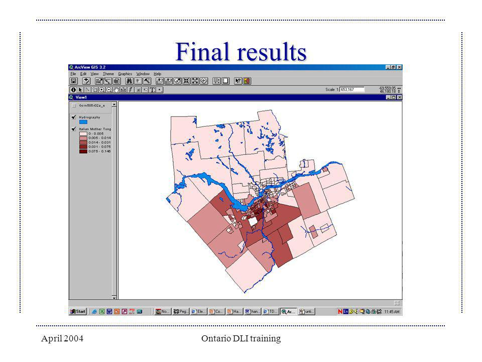 Final results April 2004 Ontario DLI training