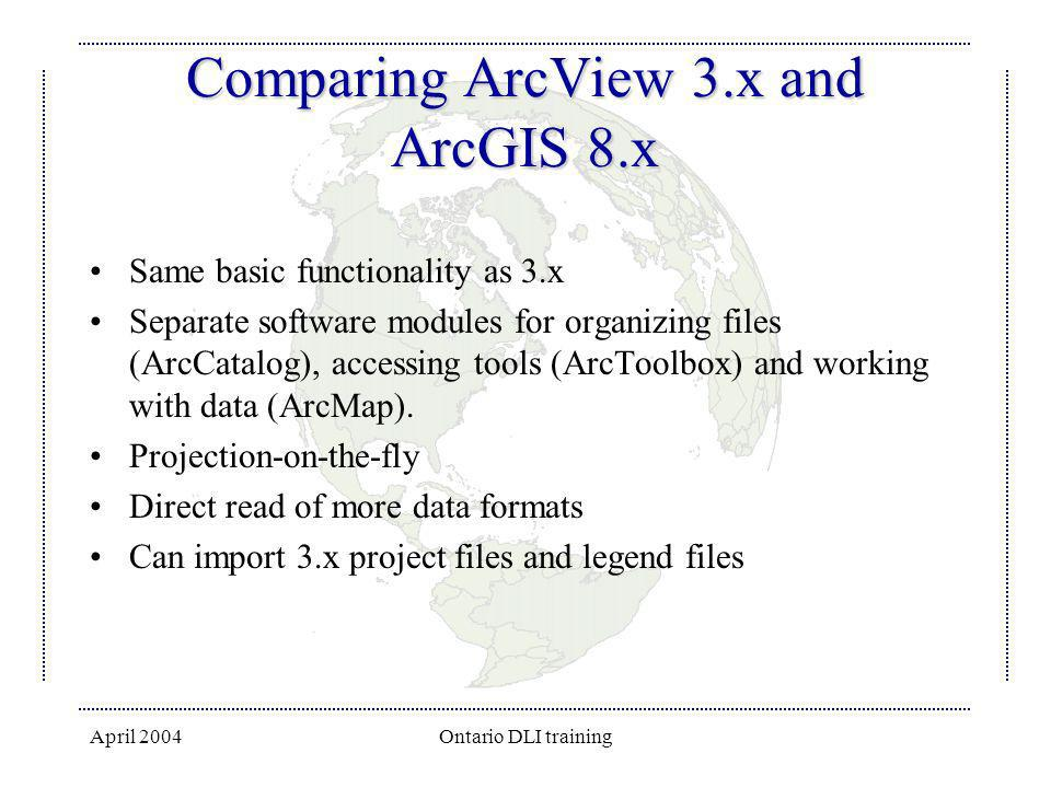 Comparing ArcView 3.x and ArcGIS 8.x