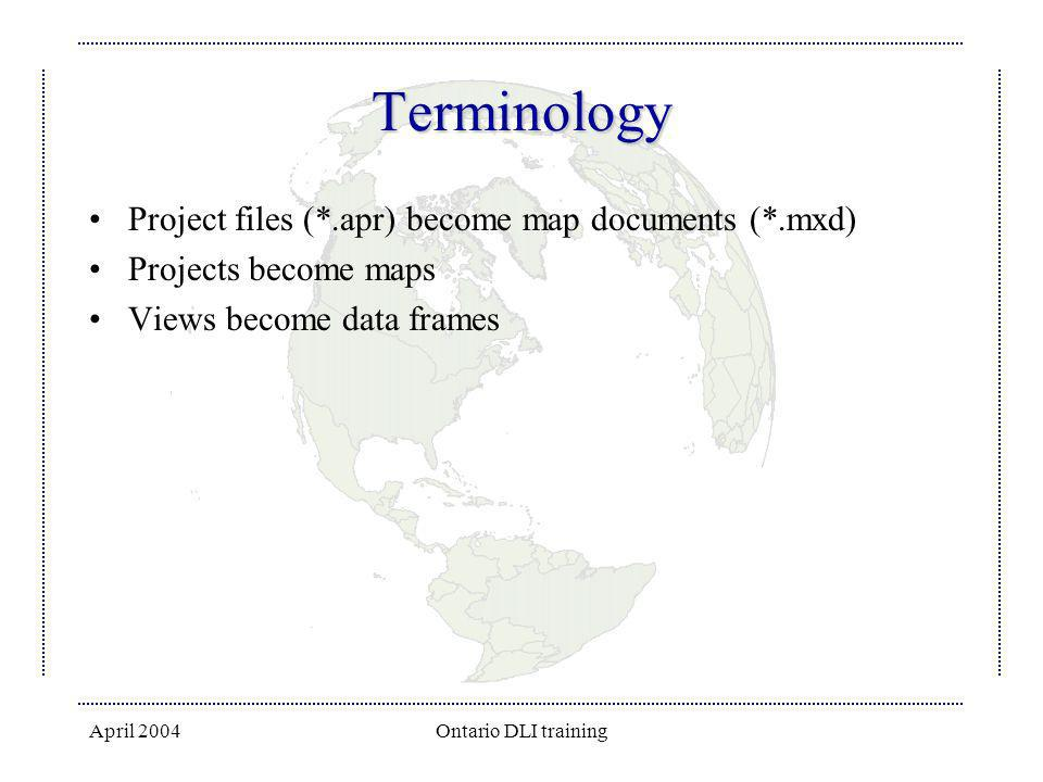 Terminology Project files (*.apr) become map documents (*.mxd)